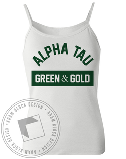 Alpha Sigma Tau Green & Gold Tank-Adam Block Design