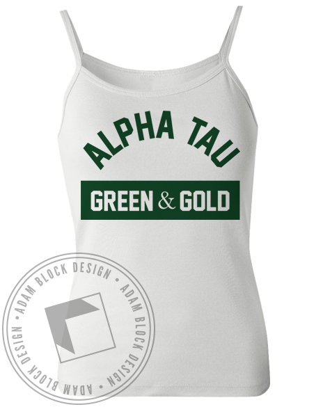 Alpha Sigma Tau Green & Gold Tank-gallery-Adam Block Design