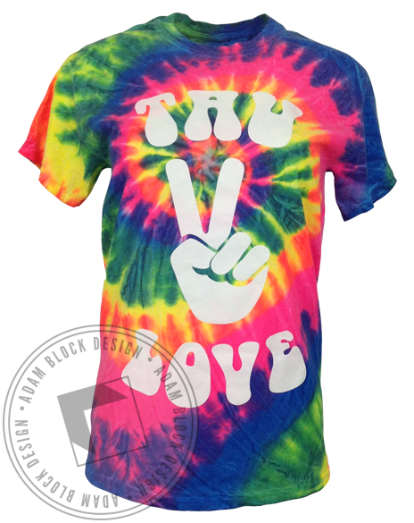 Alpha Sigma Tau Love Tie-Dye Tee-Adam Block Design