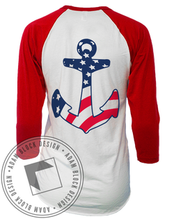 Alpha Sigma Tau One Nation Baseball Tee-Adam Block Design