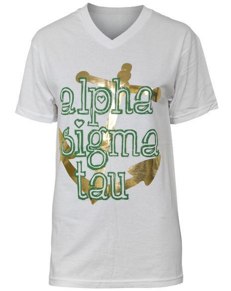 Alpha Sigma Tau Outline Anchor V-neck-gallery-Adam Block Design