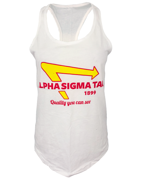 Alpha Sigma Tau Quality Burger Racerback Tank-gallery-Adam Block Design