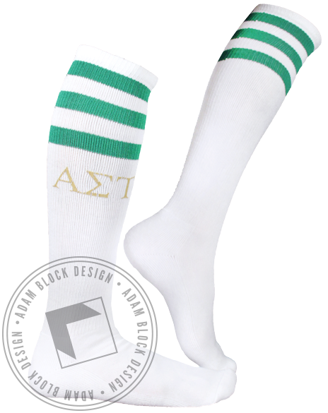 Alpha Sigma Tau Sorority Socks-Adam Block Design