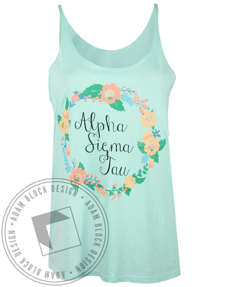 Alpha Sigma Tau Wreath Tank Top-Adam Block Design
