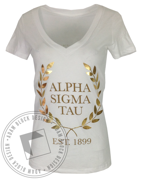 Alpha Sigma Tau Wreath Vneck-Adam Block Design