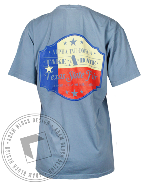 Alpha Tau Omega Take A Date Pocket Tee-Adam Block Design