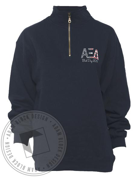 Alpha Xi Delta American Dream Half-Zip-Adam Block Design