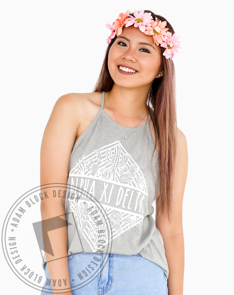 Alpha Xi Delta Cactus High Neck Tank-Adam Block Design