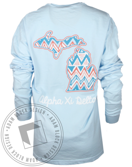 Alpha Xi Delta Chevron Longsleeve Shirt-gallery-Adam Block Design