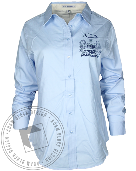 Alpha Xi Delta Crest Button Down Shirt-Adam Block Design