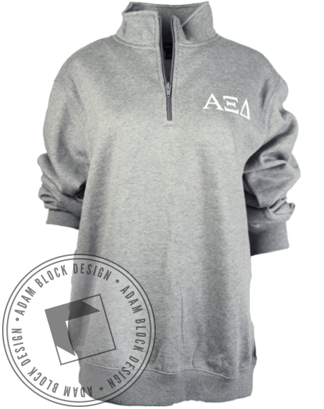 Alpha Xi Delta Crest Grey Half Zip-Adam Block Design
