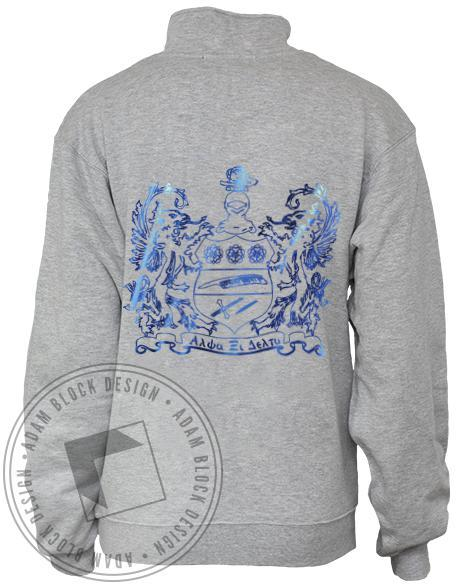 Alpha Xi Delta Crest Half Zip Sweatshirt-Adam Block Design