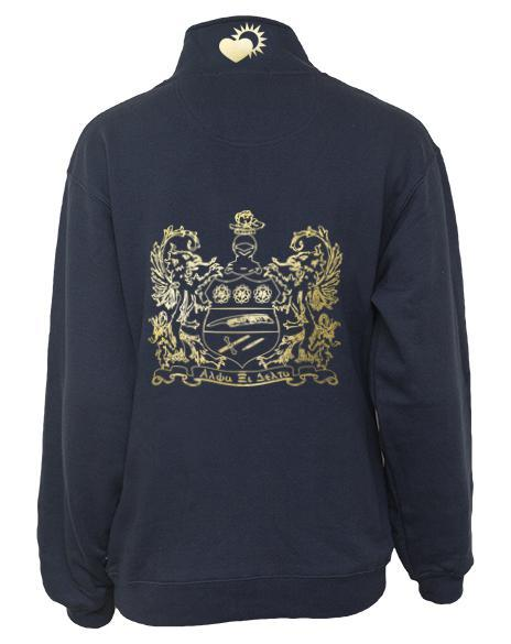Alpha Xi Delta Crest Half-Zip-Adam Block Design
