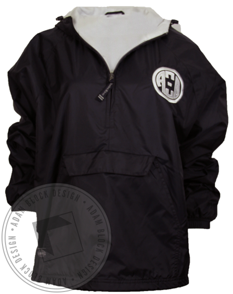 Alpha Xi Delta Crest Windbreaker Half Zip Jacket-Adam Block Design