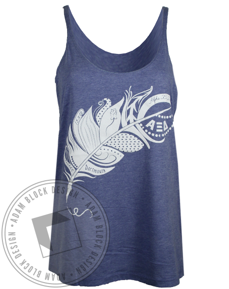 Alpha Xi Delta Feather Pen Tank Top-gallery-Adam Block Design