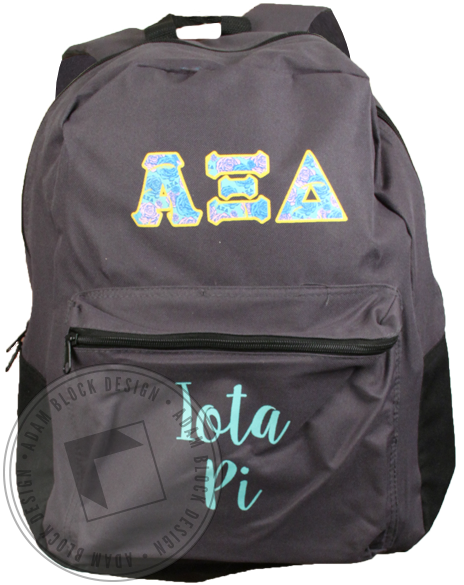 Alpha Xi Delta Floral Letters Backpack-Adam Block Design