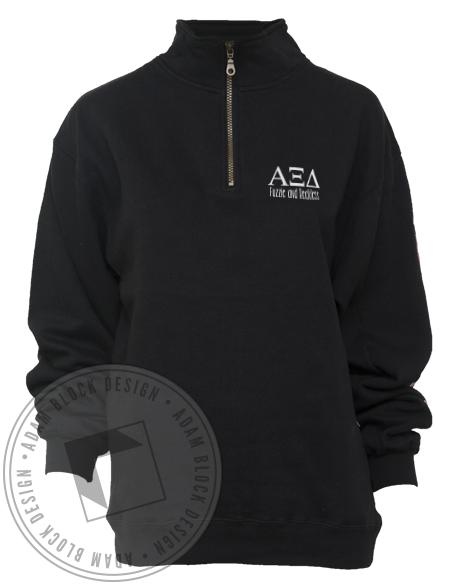 Alpha Xi Delta Fuzzie And Reckless Half-zip-Adam Block Design