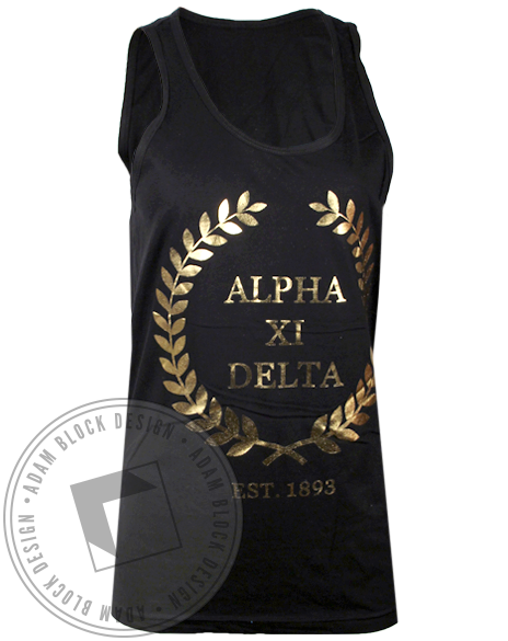Alpha Xi Delta Going for Gold Tank Top-gallery-Adam Block Design