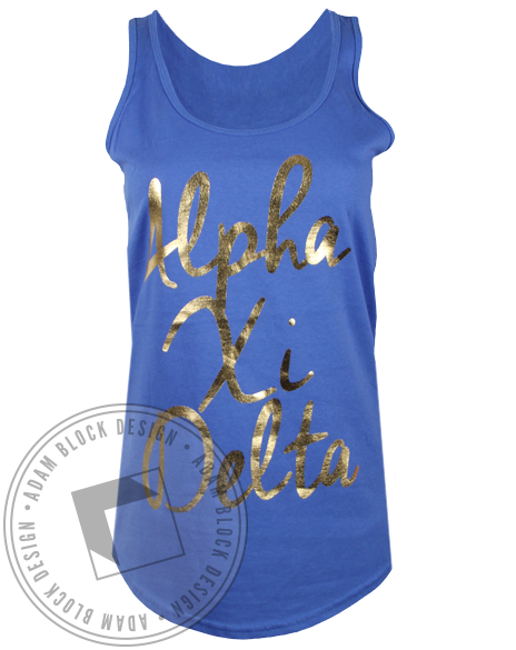 Alpha Xi Delta Gold Cursive Tank Top-gallery-Adam Block Design
