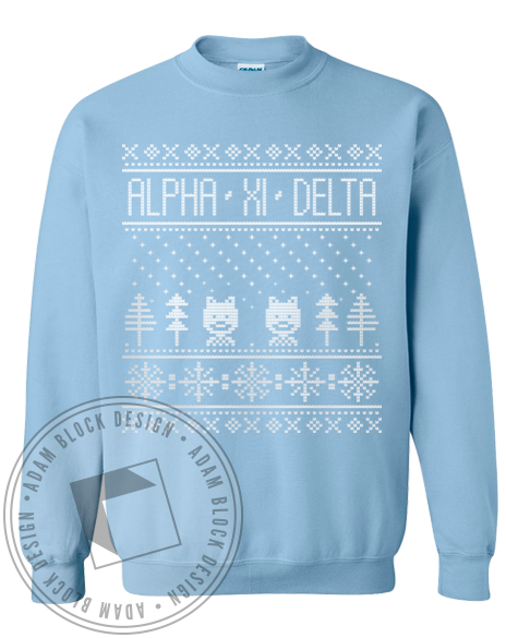 Alpha Xi Delta Holiday Sweatshirt-Adam Block Design