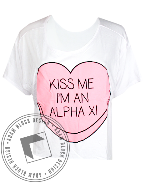 Alpha Xi Delta Kiss Me Tee-Adam Block Design
