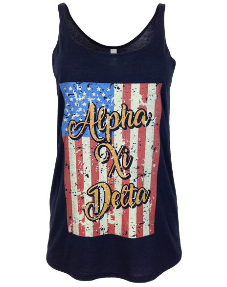 Alpha Xi Delta Land Of The Free Tank-Adam Block Design
