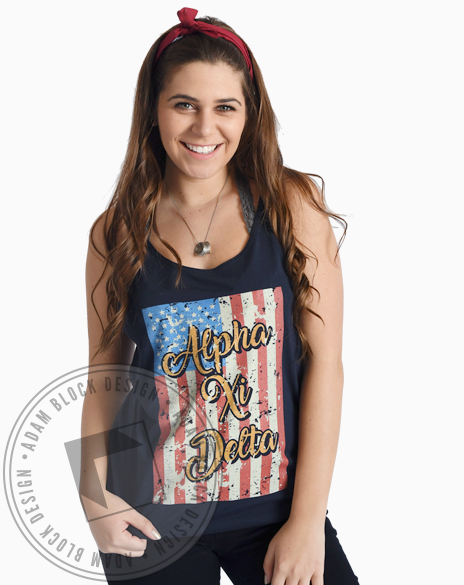 Alpha Xi Delta Land Of The Free Tank-gallery-Adam Block Design