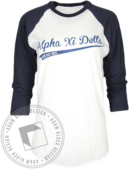 Alpha Xi Delta League of Our Own Baseball Shirt-Adam Block Design