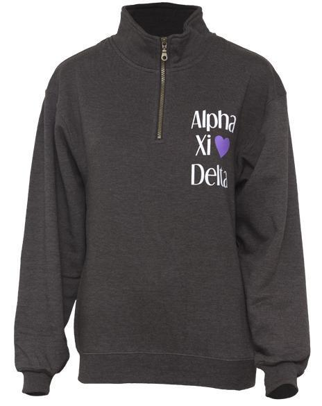 Alpha Xi Delta Love Half-Zip-Adam Block Design