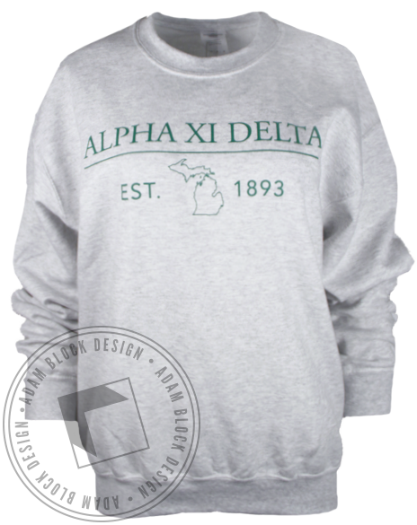 Alpha Xi Delta Michigan Sweatshirt-Adam Block Design