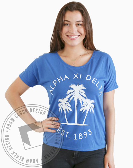 Alpha Xi Delta Palm Tree Tee-Adam Block Design