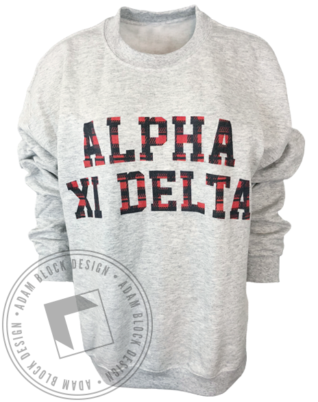 Alpha Xi Delta Red Plaid Sweatshirt-Adam Block Design