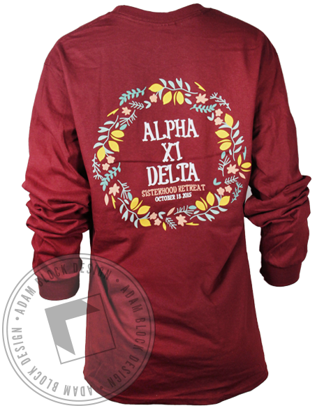 Alpha Xi Delta Sisterhood Wreath Longsleeve Shirt-Adam Block Design