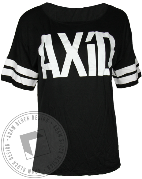 Alpha Xi Delta Striped Football Shirt-Adam Block Design