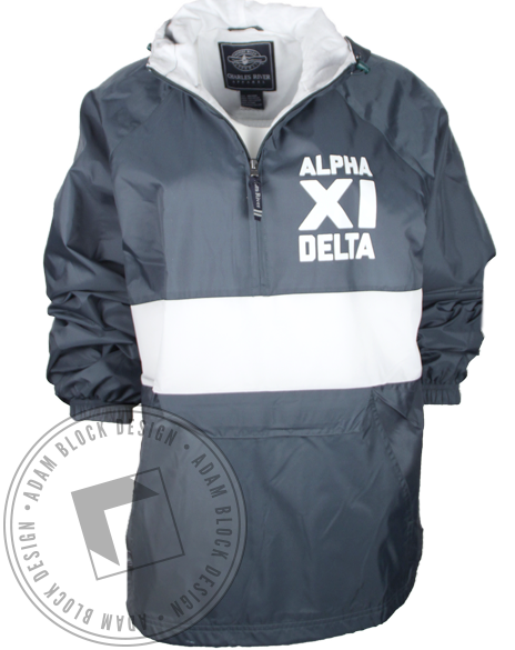 Alpha Xi Delta Striped Windbreaker Half Zip Jacket-Adam Block Design