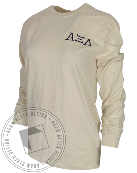 Alpha Xi Delta Unexpected Places Longsleeve-Adam Block Design
