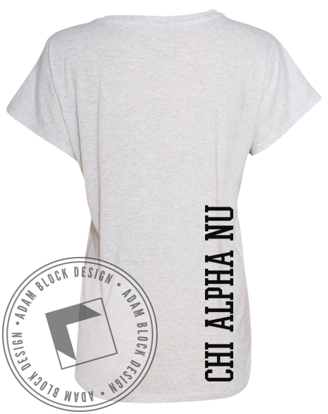 Chi Alpha Nu Collegiate Letter Tee-Adam Block Design