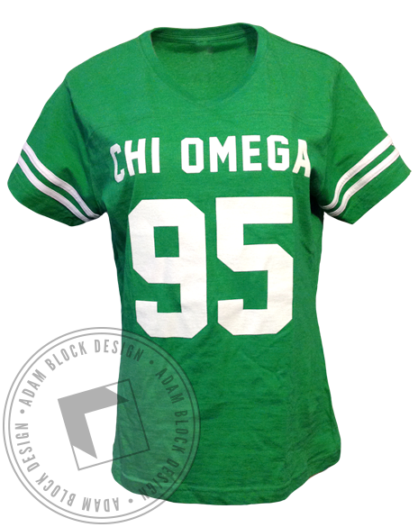Chi Omega 95 Striped Sleeve Tee-Adam Block Design