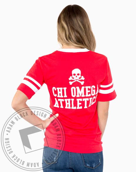 Chi Omega Athletics Striped Tee-Adam Block Design