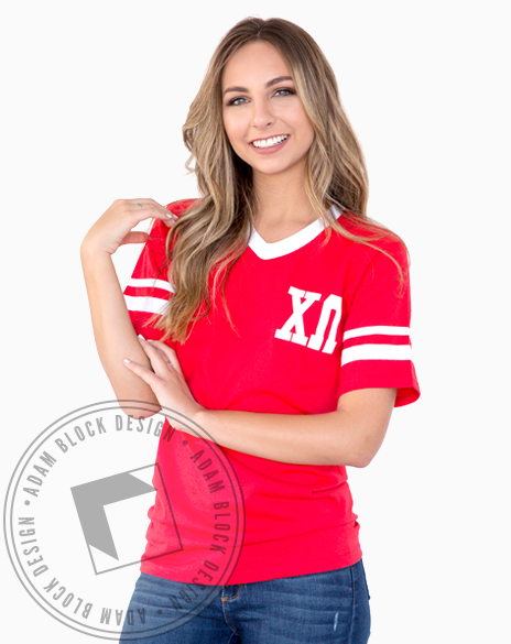 Chi Omega Athletics Striped Tee-gallery-Adam Block Design