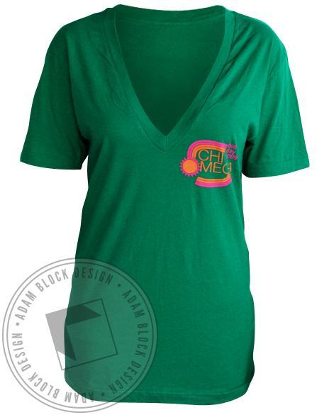 Chi Omega Bid Day Green V-Neck-Adam Block Design