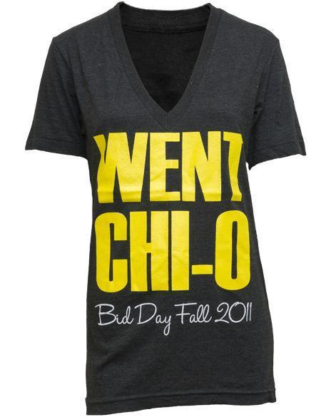 Chi Omega Bid Day Went Chi O V-Neck-gallery-Adam Block Design
