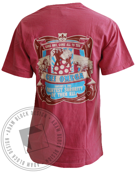 Chi Omega Circus Recruitment Tee-gallery-Adam Block Design