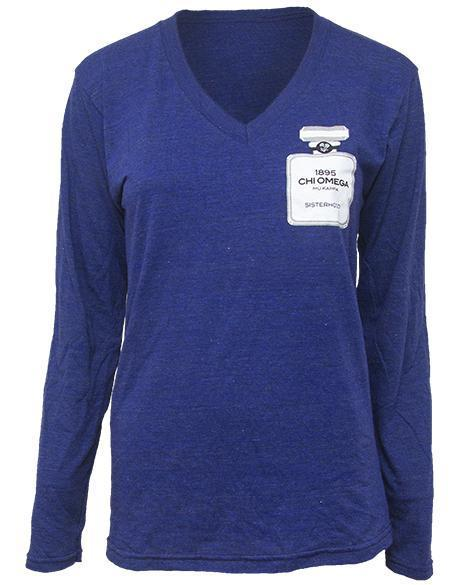 Chi Omega Classy Chanel Long Sleeve V-neck-gallery-Adam Block Design