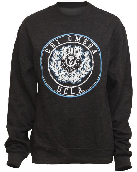 Chi Omega Crest Crew Neck Sweatshirt-Adam Block Design