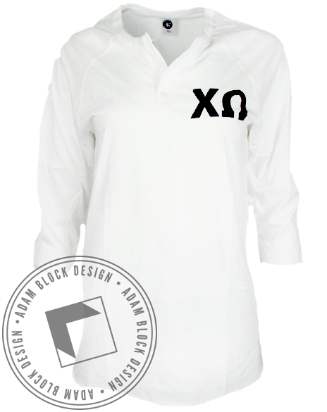 Chi Omega Crest White Long Sleeve-Adam Block Design