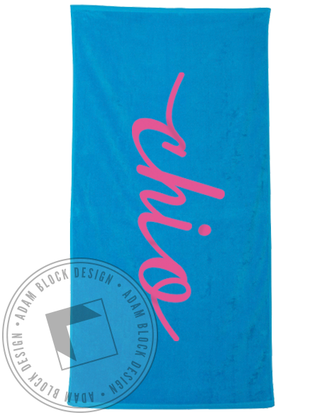 Chi Omega Cursive Towel-gallery-Adam Block Design