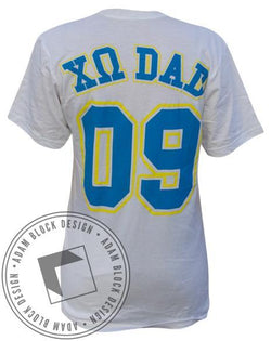 Chi Omega Dad's Day Jersey Tee-Adam Block Design