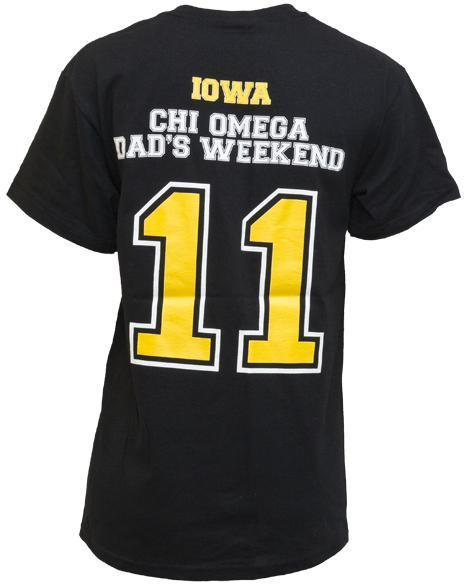 Chi Omega Dad's Weekend Pocket Tee-Adam Block Design