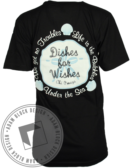 Chi Omega Dishes For Wishes Tee-Adam Block Design